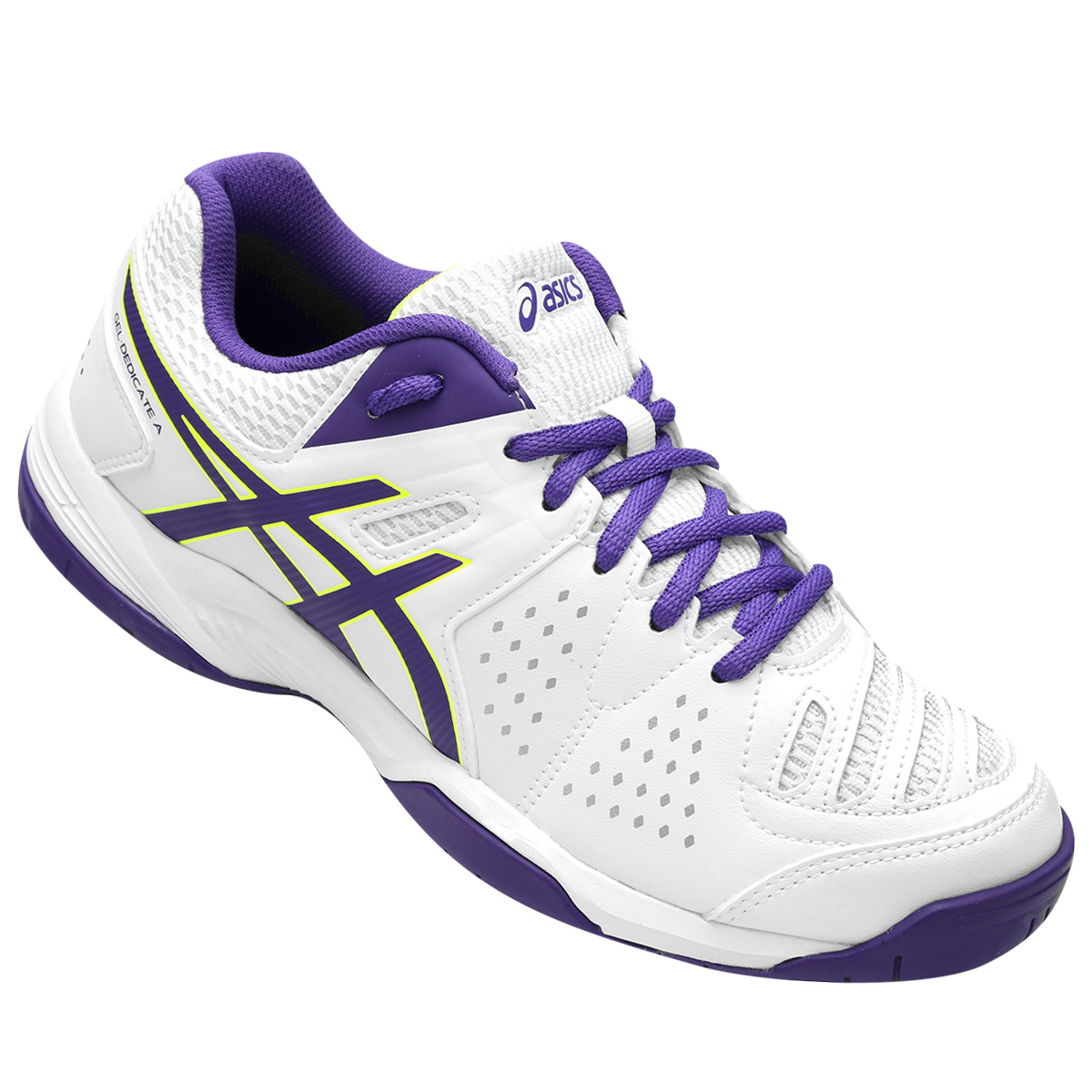 Tênis Asics Gel Dedicate 4 A White/Deep Blue/Flash Yellow