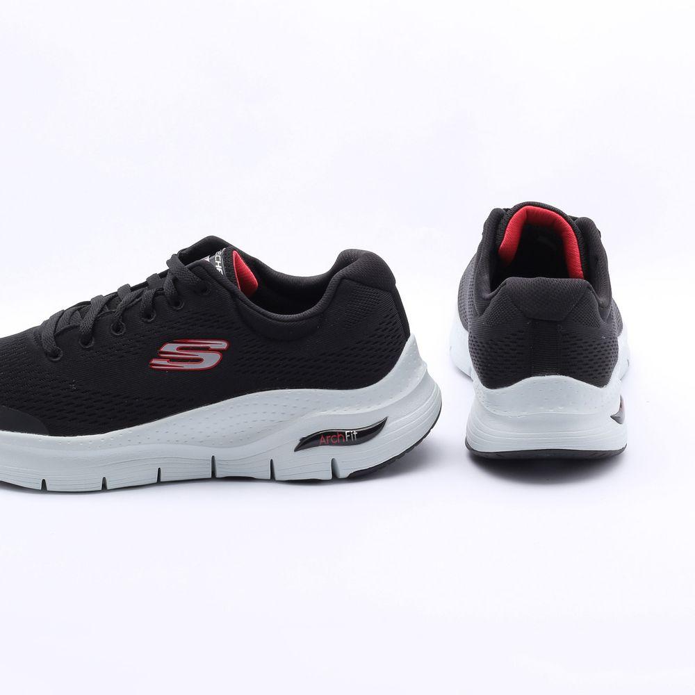 Tênis Skechers Arch Fit preto/vermelho